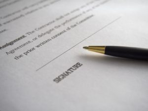 The signature line on a Will