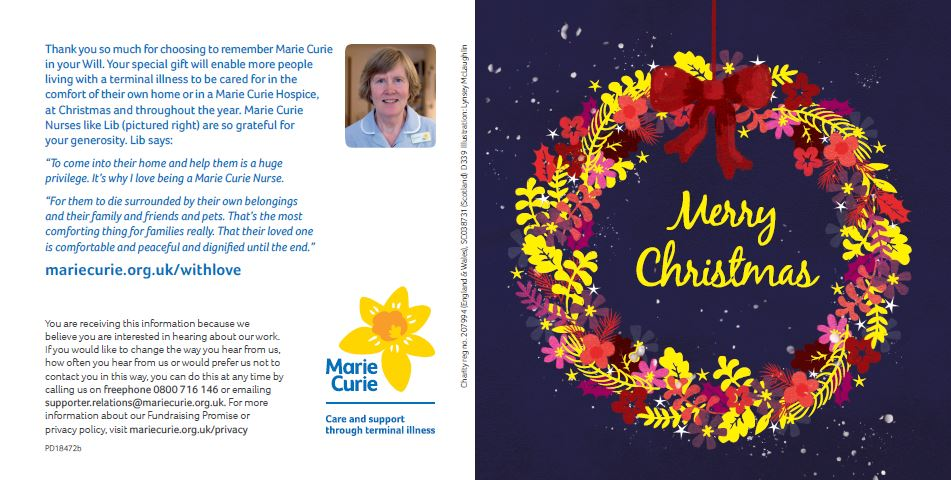 Lib Wolley Marie Curie Nurse Christmas Card_Seasonal Legacy Marketing_Blog_Remember A Charity_Body Image